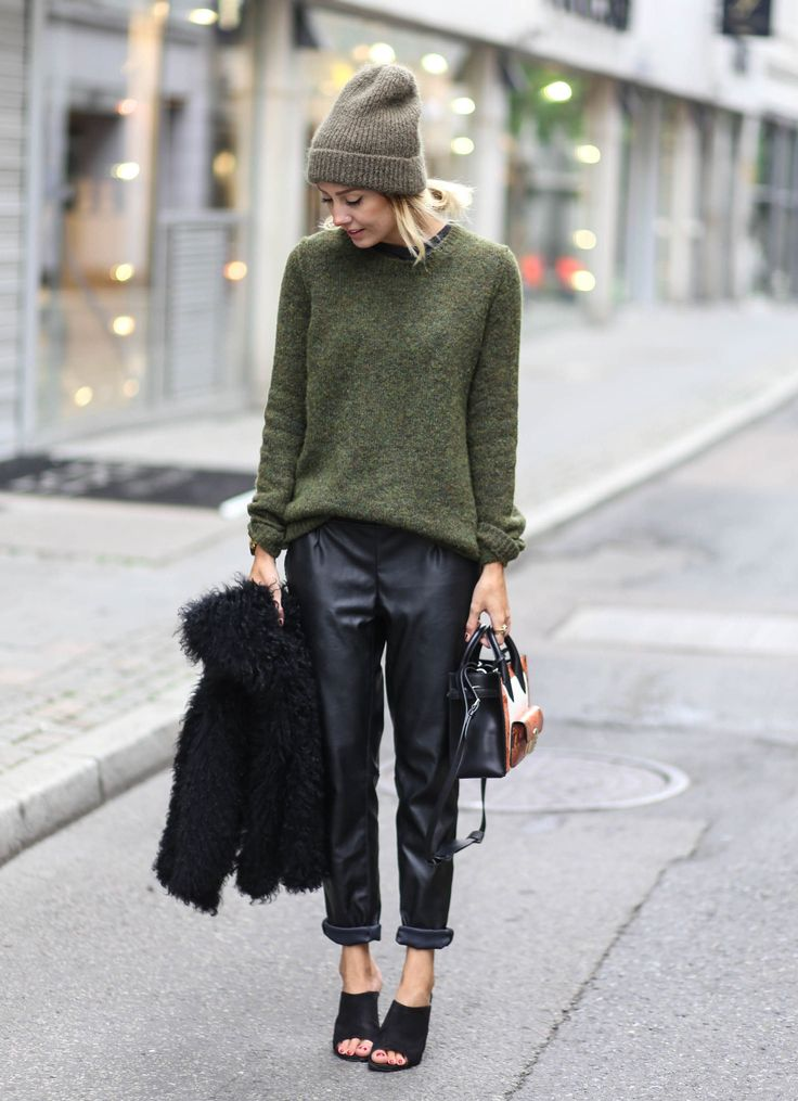 Army green, faux leather pants and beanie