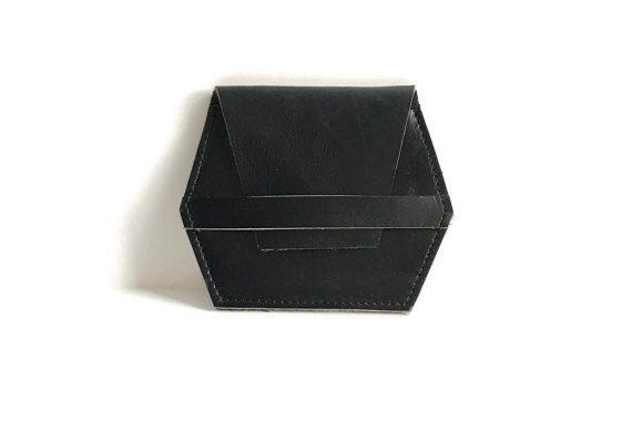 Lederen portemonnee zwart / / minimal slim door AngelaValentineBags