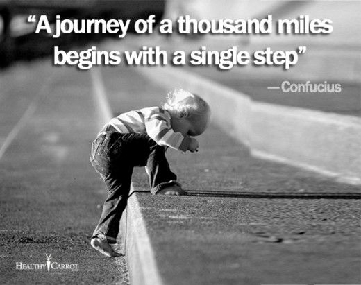 """A journey of a thousand miles begins with a single step"" quote by Confucius"