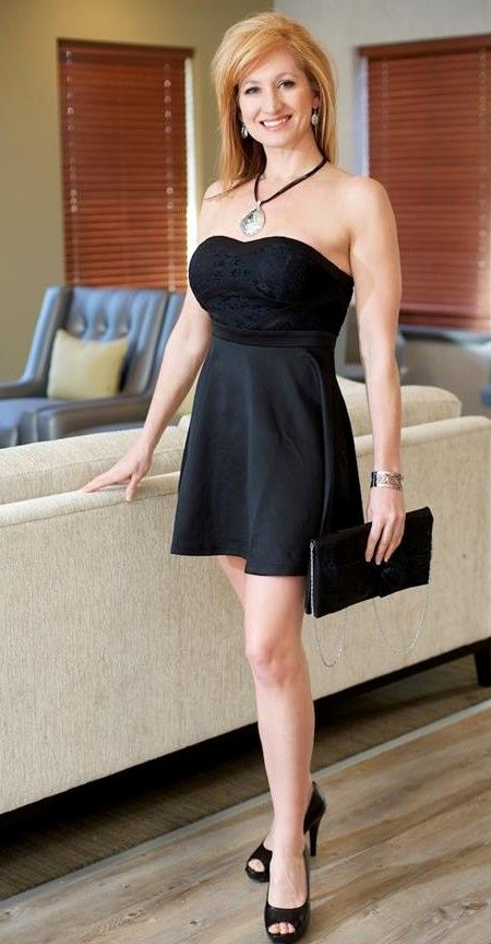Strapless little black dress with cute flare