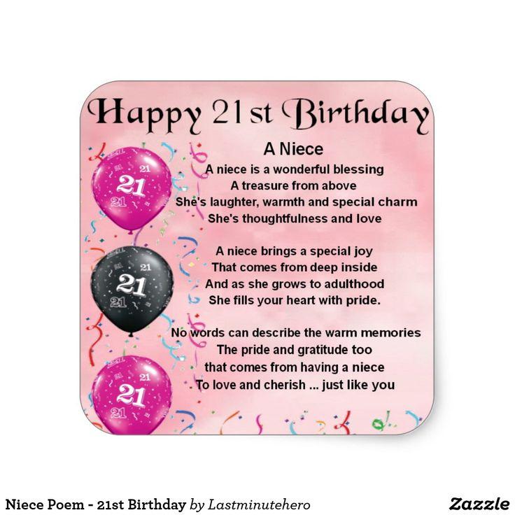Niece Poem 21st Birthday Square Sticker Zazzle.co.uk