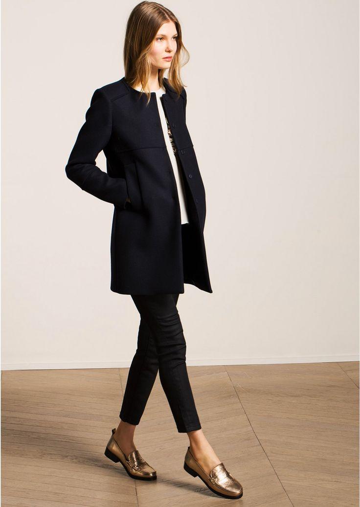 manteau noir en laine et cachemire femme tara jarmon 3 manteaux pinterest manteaux. Black Bedroom Furniture Sets. Home Design Ideas