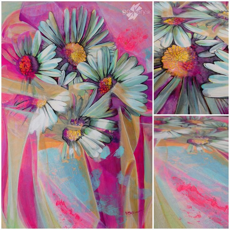 Bouquet of Daisies, acrylic painting on canvas