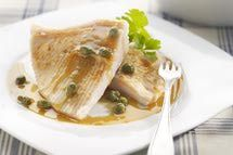 How to cook skate wing. I tried this and the fish turned out really well. Actually, it was better than any skate I've had in a restaurant.  I didn't have wine on hand so I used the juice of 1 lemon instead, and threw some capers into the sauce at the end.