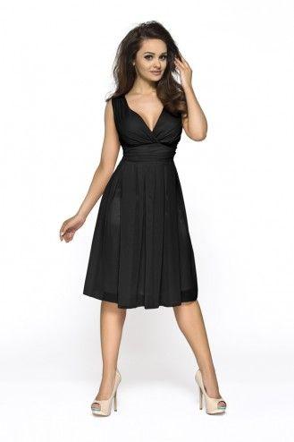 Fascynująca czarna sukienka na grubych ramiączkach z kopertowym dekoltem
