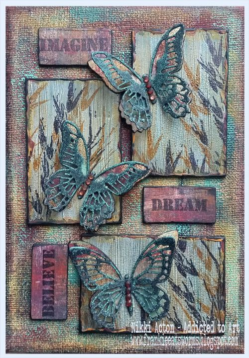 Mixed Media Canvas with Tim Holtz Mini Detailed Butterfly Thinlits – by Nikki Ac…