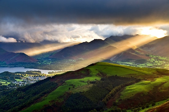 Blencathra, Lake District. Love seeing the sunset on Saddleback from my window.