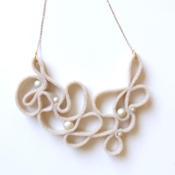 100 % Wool felt necklace with some cream colored faux pearl accent!  It is very light weight.    Its all hand sewn and hand cut .This item is one of a kind. No two are the same.  I cant make exact same necklace!!!!    The felt part is about H 4 X W 5 1/4 The chain is gold red brass and length is about 14.5 + 2 extra slack with HOMAKO tag.