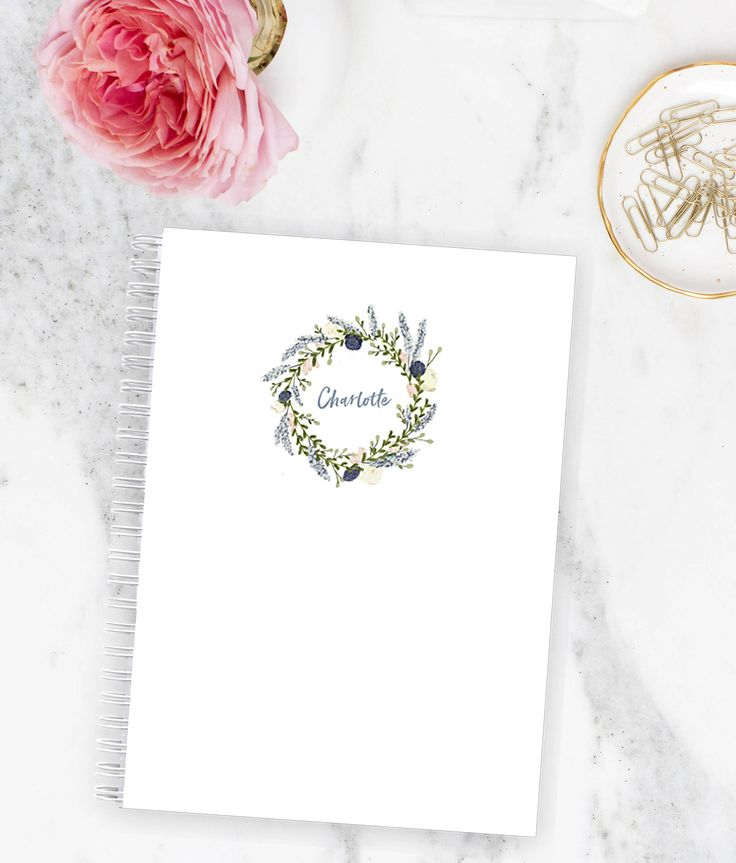 Notebook Personalized - Floral Wreath Blue | Custom | Stationery | Monogram | Journal | Fashionista | Blogger | Agenda | Student | Planner by LetterLoveDesigns on Etsy