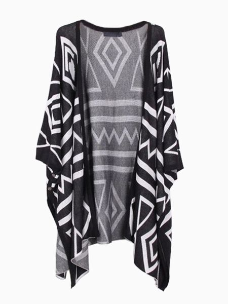 Oversize Waved Kimono Cardigan with Batwing Sleeves in Black