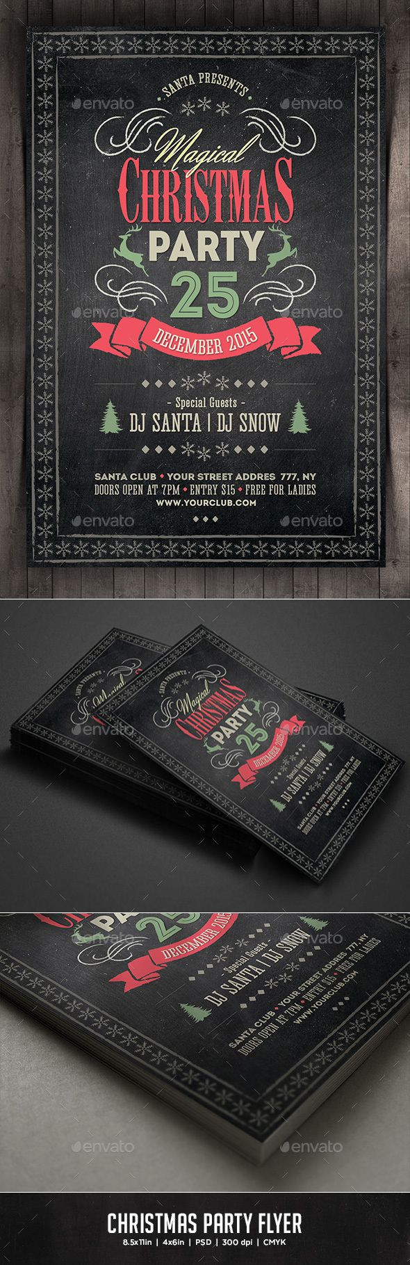 Christmas Party Flyer Template PSD #design #xmas Download: http://graphicriver.net/item/christmas-party-flyer/13477632?ref=ksioks
