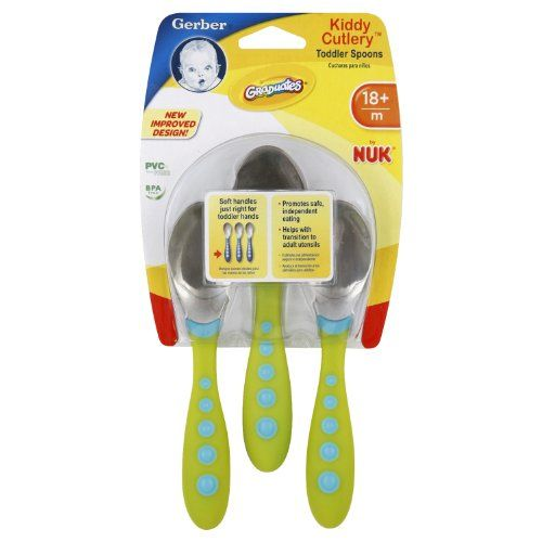 Gerber Graduates Kiddy Cutlery Spoons In Neutral Colors, 3-Count, 2015 Amazon Top Rated Children's Flatware #BabyProduct