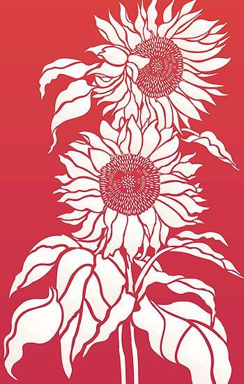 Large Sunflowers Stencil