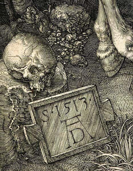 Albrecht Dürer.  1471-1528  Knight, Death and the Devil, 1513,  Detail Sign by Durero  Rotterdam, Museum Boijman