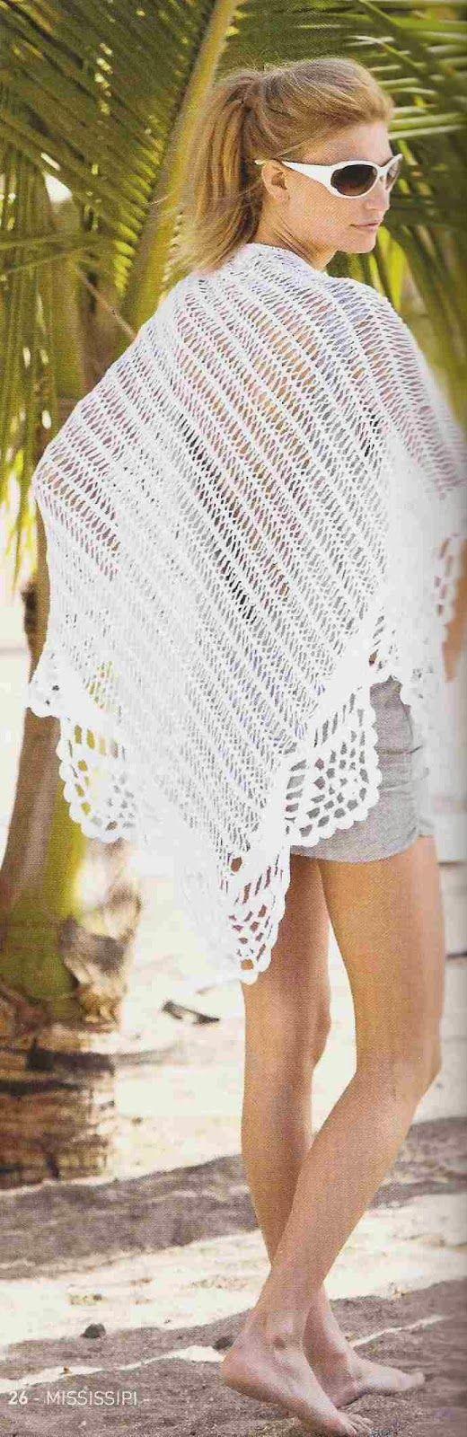 Patrón #68: Chal o Poncho Blanco a Crochet. Patrón #68: Chal o Poncho Blanco a…