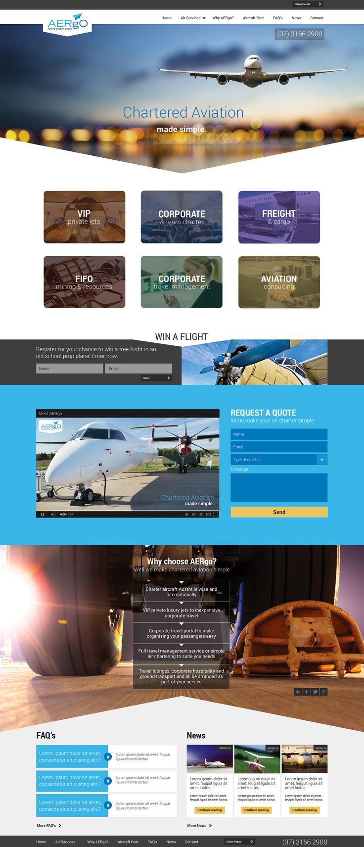 Chartered plane website design