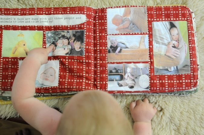 Amazing first birthday present. What a keepsake!! Fabric birthday book with pictures, memories, etc.