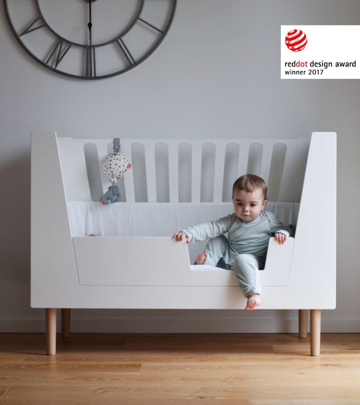 The Red Dot award winning baby cot from Done by Deer converts to accommodate your child's needs and development and will take your tiny one up through the toddler years by replacing the front rail with the step-in guard.