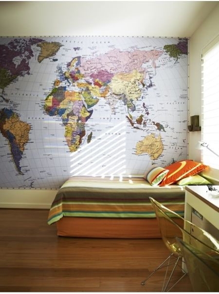 The World Map Wall Mural  (13 feet wide and 8 feet 8 inches tall) is $149.95 at Environmental Graphics.