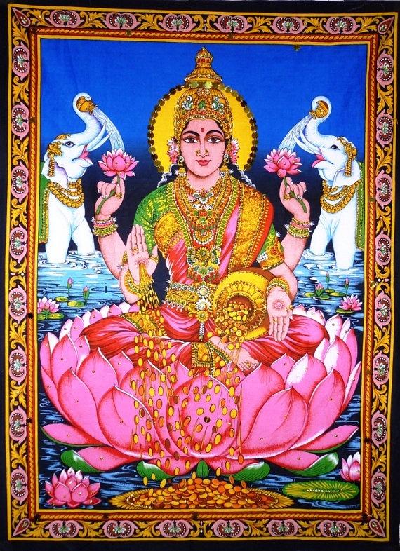 indian art hindu goddess Laxmi cotton wall by GenuineProducts52, $16.52
