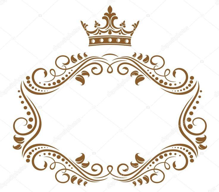 Baixar - Elegante moldura real com coroa — Ilustração de Stock #9576100
