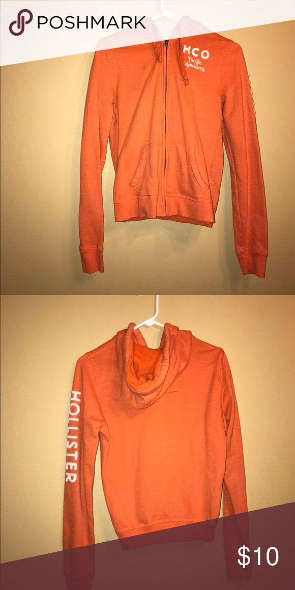 Hollister Orange Zip Up Hoodie Thick material and warm! Hollister Tops Sweatshirts & Hoodies
