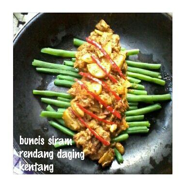 Buncis siram rendang daging kentang