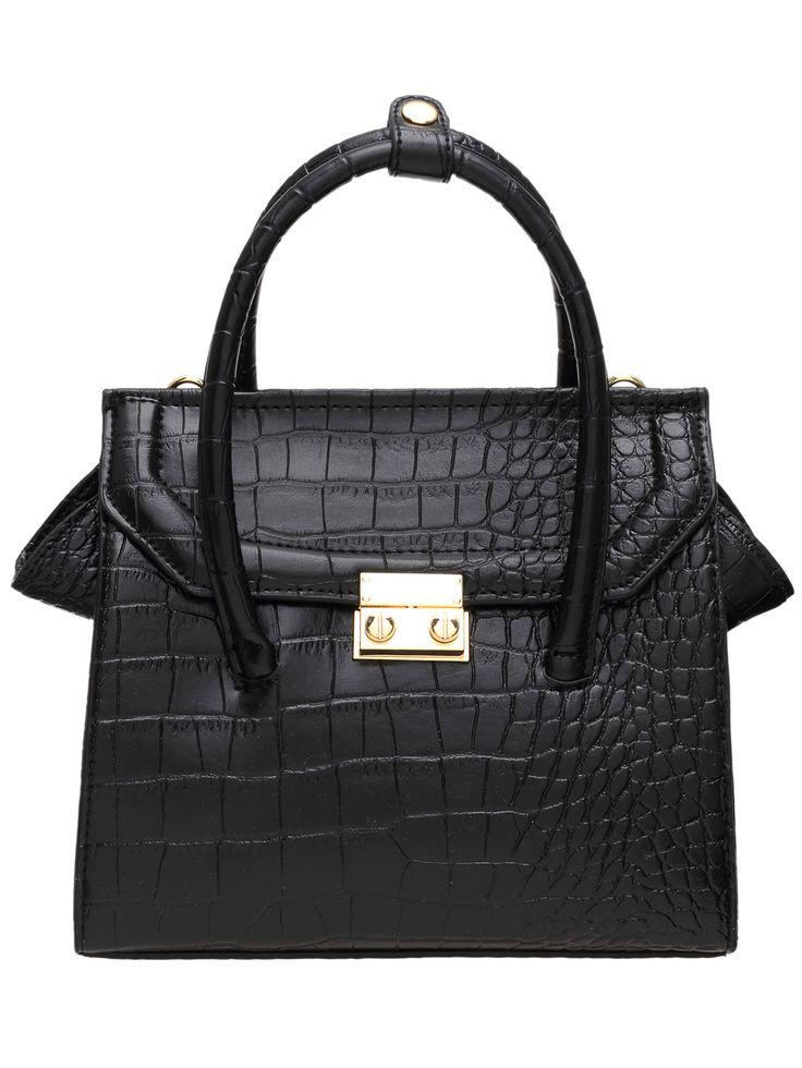Black Zipper PU Tote Bag 37.42