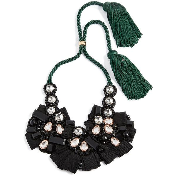 Lizzie Fortunato Moonlight Bib Necklace ($395) ❤ liked on Polyvore featuring jewelry, necklaces, black, cord necklace, tassle necklace, lizzie fortunato, long tassel necklace and bib necklace