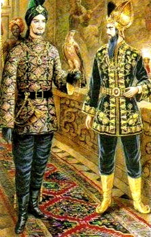 Watercolor of Baron Alexis de Rede's Le Bal Oriental, 1969, by Alexandre Serebriakoff. Depicted are Valerian Styx-Rybar and Jean- Francois Daigre.: