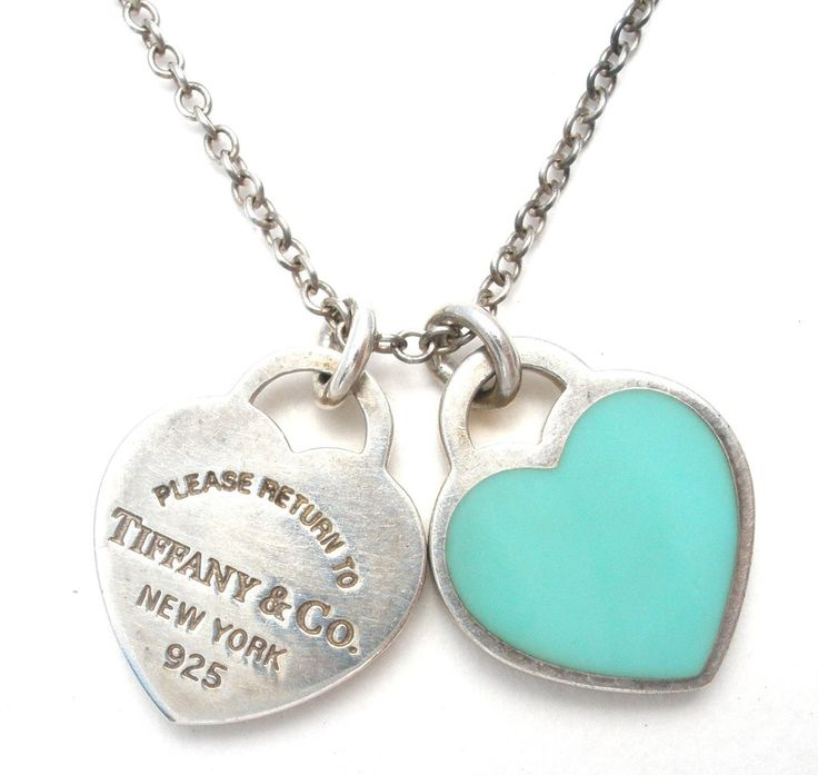 Return To Tiffany Necklace Blue Double Heart 925