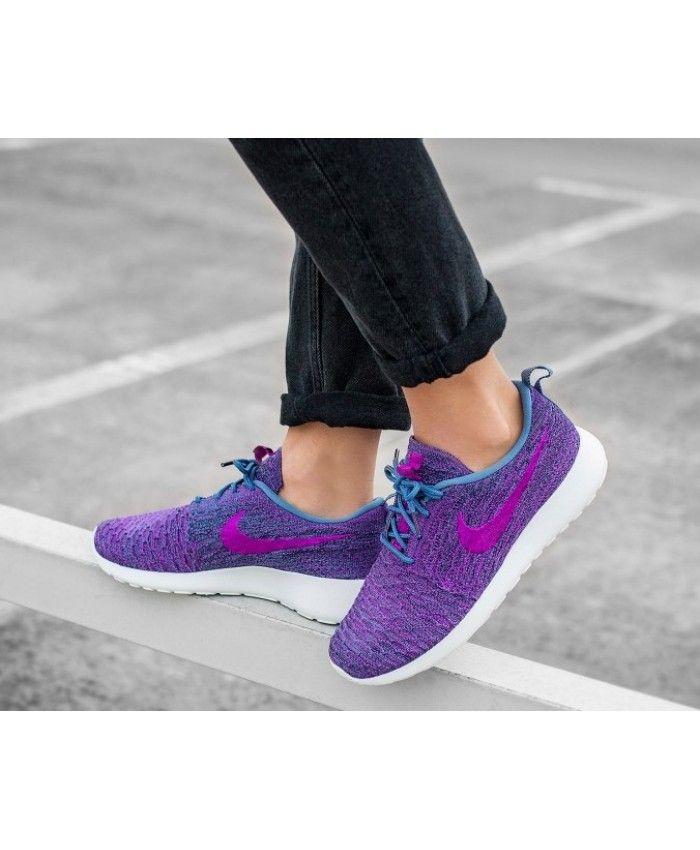 new product e1213 5545e Nike Roshe One Flyknit Ocean Fog Purple Navy Trainers