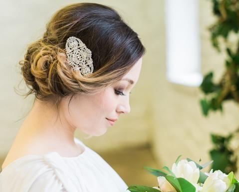 Art Deco Style Crystal Encrusted Hair Comb, Elise