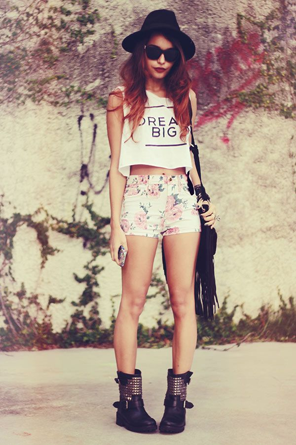 floral shorts and boots