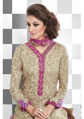 Cream Cotton Salwar Kameez, - £48.00, #OnlineSalwarKameez #Fashion #UK #Shopkund