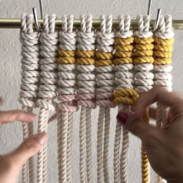 "1,663 Likes, 59 Comments - E L S I E    G O O D W I N (@reformfibers) on Instagram: ""How to Introduce Color when Tying Vertical Clove Hitch Knots // First, PLEASE vote for me to win…"""