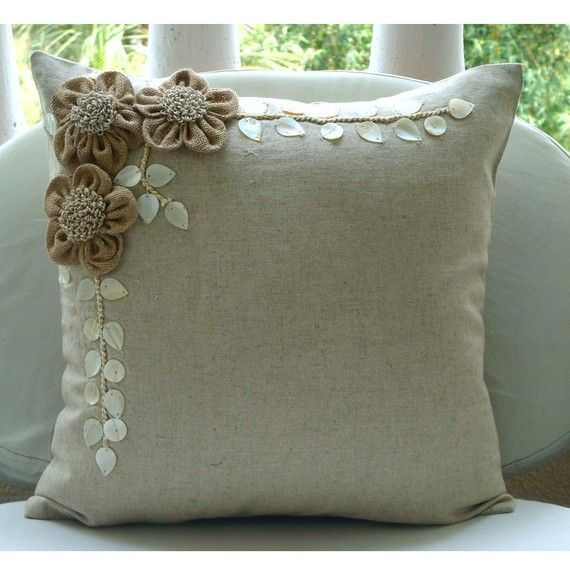 Decorative Throw Pillow Covers Accent Pillow Couch 16 Inch Beige Linen Pillow Cover Jute & Pearl Embroidered Bedding Home Decor Jute Blooms