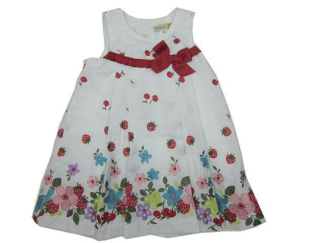 Vestido Estampado, vestido bordado, vestido cerezas, vestido blanco, - Vestidos para Bebé y Niña hasta los 4 Años - Mundo Kiriko #Modainfantil