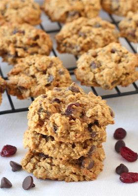 Pumpkin Oatmeal Cookie Recipe with Dried Cranberries and Chocolate Chips from twopeasandtheirpod.com We make these every year! Love them!