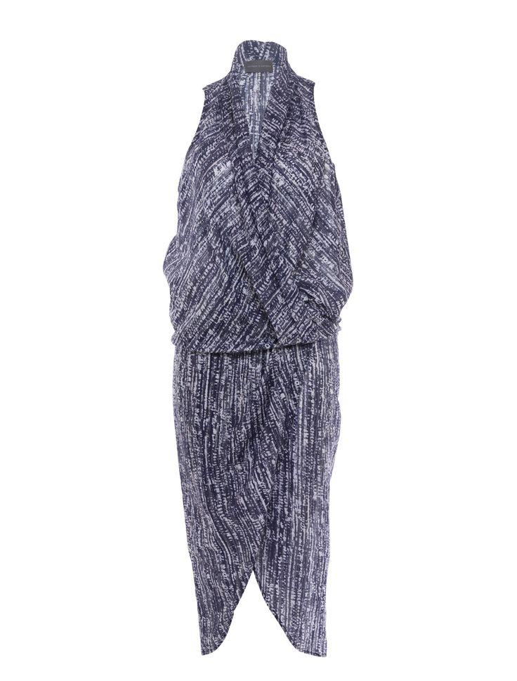 Watson X Watson - Rain Print Drape Front Dress