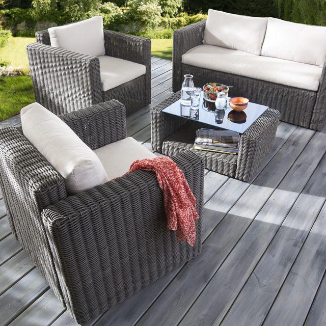 Salon Palmas, 1 sofa + 2 fauteuils + 1 table basse - CASTORAMA ...