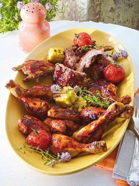 BBQ-Ribs & Hähnchenteile vom Grill