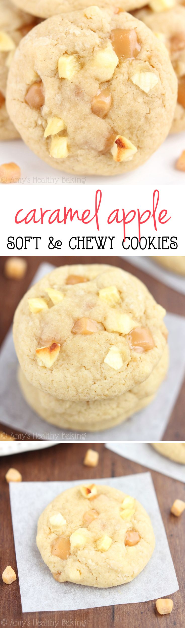 Caramel Apple Cookies -- so chewy & even better than regular caramel apples! Barely 100 calories!