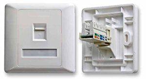 Unique Une Bande Cat5 Prise de Courant / 1G Cat5 Plaque Murale Panneau / Unique Port Ethernet/Port Réseau / Chargée / Blanc