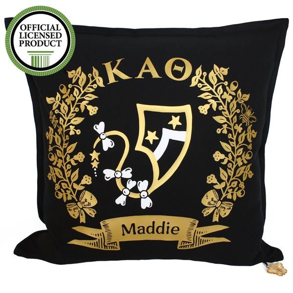ΚΑΘ - 'Bigs' and 'Littles' share a lifelong bond of sisterhood. Cherish and celebrate your special friendship with a Brit and Bee Sorority Logo Cushion. FRONT - first name, sorority letters and witty