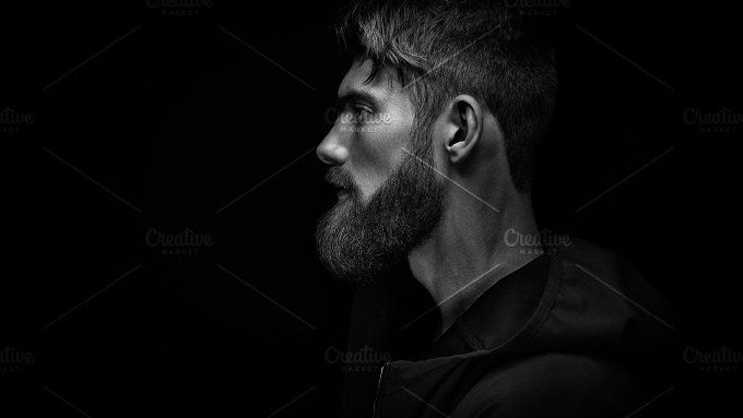 Bearded man in profile by Usmanov Stock Photography on @creativemarket