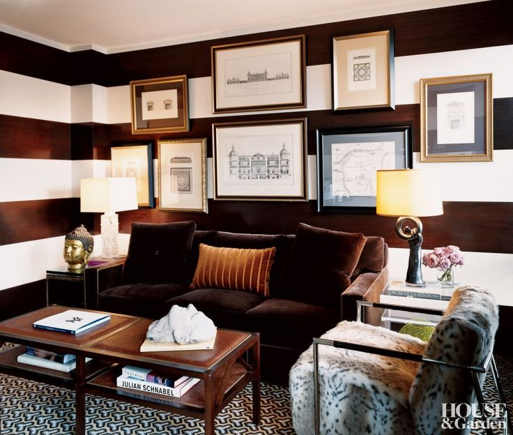 Rich chocolates and bold prints define the study of jorge posadas manhattan home the ottoman