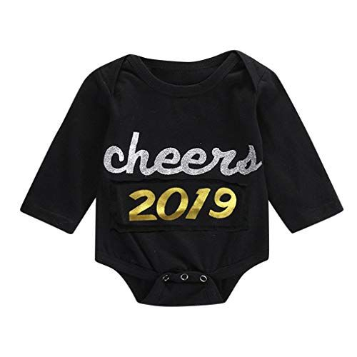6360291adaf Newborn Infant Baby Girl Boy Romper Cheers 2019 Letters Print Bodysuits  Clothes Black Onesies Jumpsuits Outfits (12-18 Months