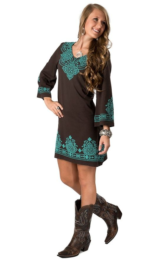 turquoise & brown cowgirl dress | Western Wear / Pink Cattlelac® Women's Brown & Turquoise Screenprint ...