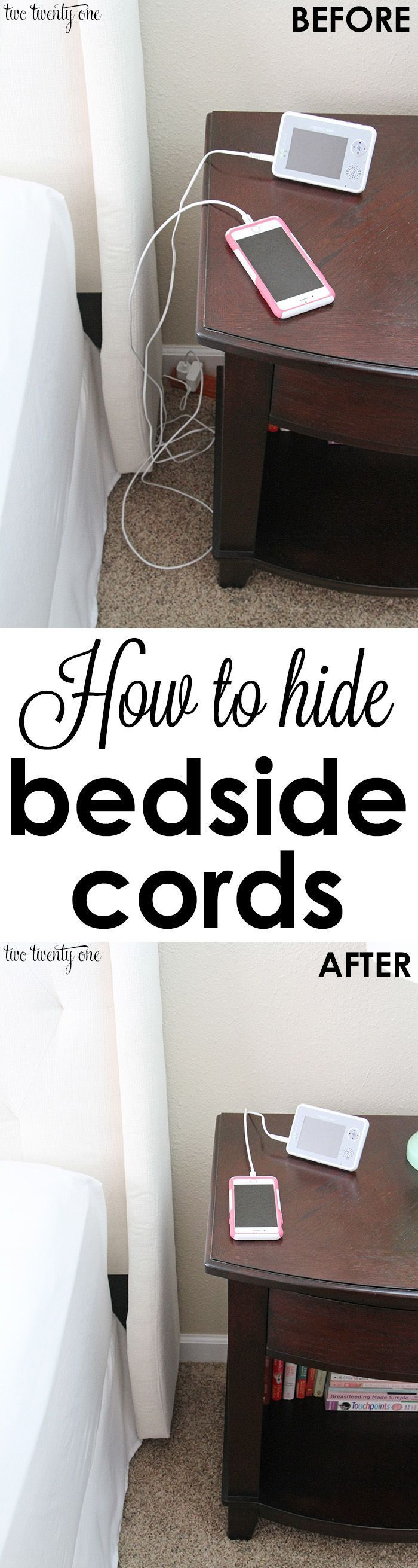 How to hide and organize bedside cords!